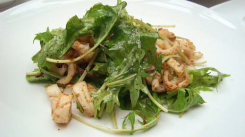 Grilled Squid and Arugula Salad with Espelette Pepper and Basil Oil