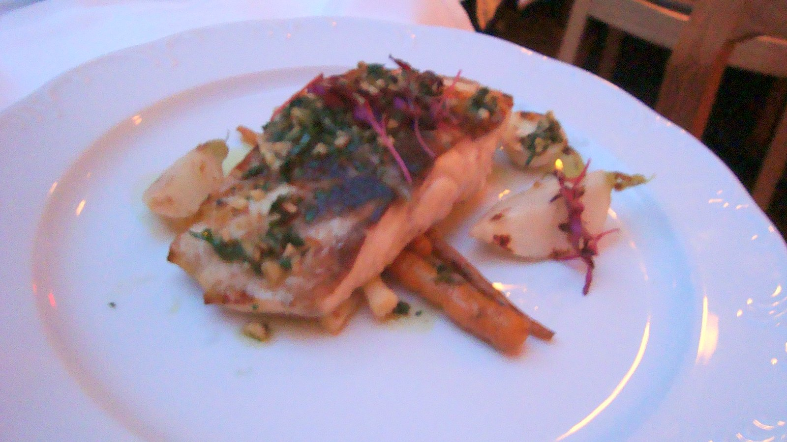 Grilled Wild Striped Bass with Charred Carrots, Turnips, Baby Leeks and Parsley- Walnut Gremolata