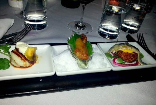 Seafood Trio (L-R): Grilled scallops with sweet chili sauce, crème fraiche and green plantain crisps; Fried Hama Hama oysters with shiso, sansho pepper, and wasabi-yuzu dipping sauce; Marinated white anchovies on quinoa croquettes with spicy saffron aioli