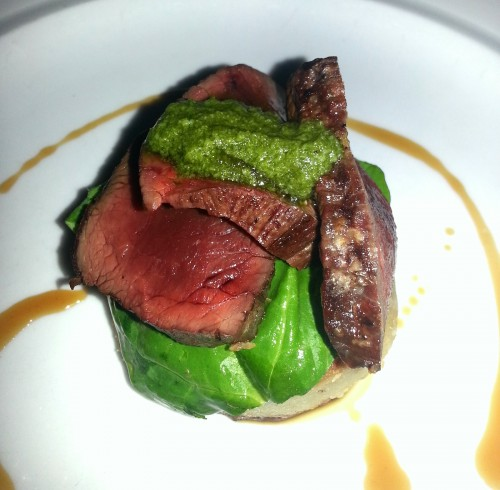 Grilled New Zealand venison loin, Cabrales dumplings, oyster mushrooms and salsa verde