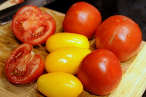 Fresh tomatoes from a nearby CSA.