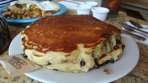 Blue Monkeys - Buttermilk pancakes with blueberries and bananas