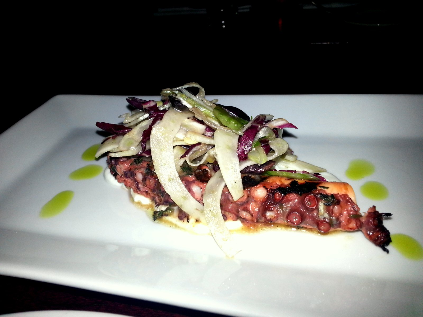 Grilled Portuguese Octopus: Shaved Celery, Radicchio, Fennel, Kalamata Olives, Greek Yogurt &amp; Charred Lemon Vinaigrette