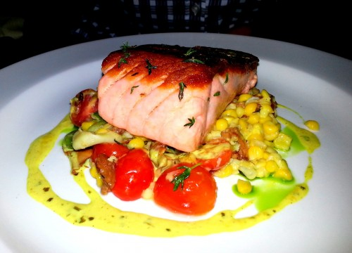 Scottish salmon: Sweet Summer Corn, Heirloom Cherry Tomato, Fava Beans, Chanterelles, Pancetta & Curry Butter