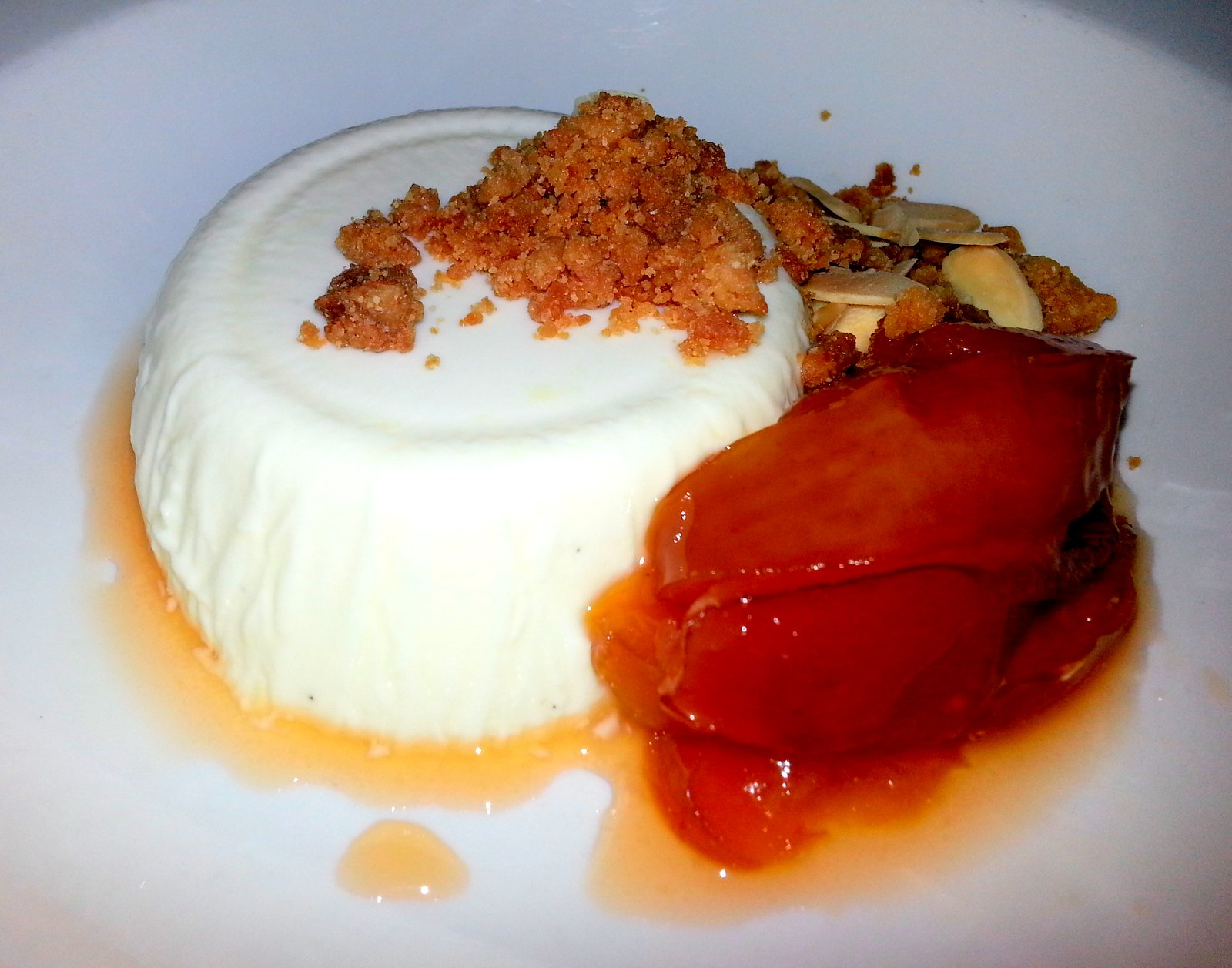 Butterscotch Pannacotta with roasted plums