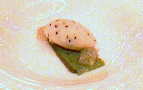 Palate cleanser: passion fruit sorbet over basil cake and pistachio jelly.