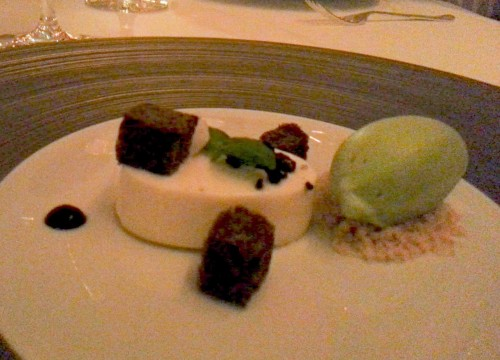 Basil ice cream, coconut pannacotta, dried coconut and chocolate brioche.