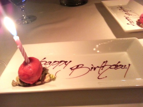 Rasberry sorbet birthday candle.