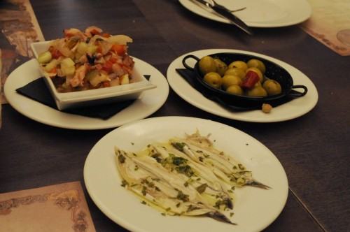 Our choices: pulpo salad, anchovies, olives.