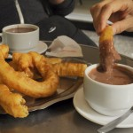 Churros dipped in thick, rich chocolate. Drool.