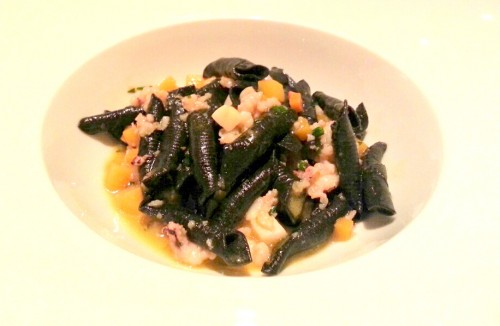 Garganelli: squid ink pasta, seppia, shrimp, scallops, butternut squash.