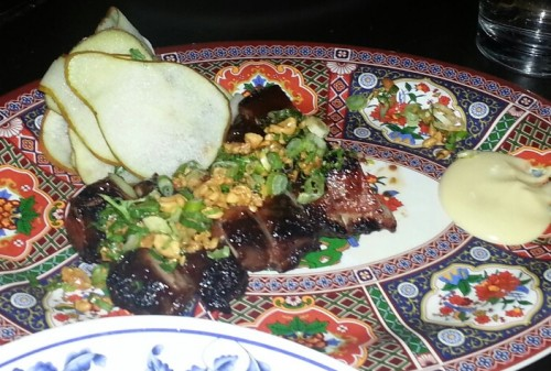 Smoked Char Siu Pork Shoulder - peanuts, autumn pears